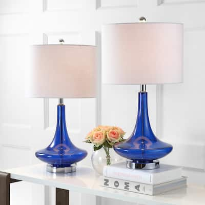 """Cecile 25.5"""" Glass Teardrop LED Table Lamp, Cobalt/Chrome (Set of 2) by JONATHAN Y"""
