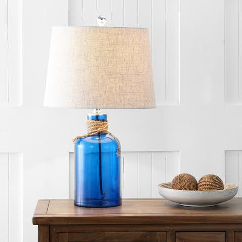 "Azure 23.5"" Glass Bottle LED Table Lamp, Cobalt/Natural by JONATHAN Y"
