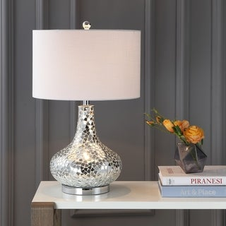 "Link to Emilia 26"" Mirrored Mosaic LED Table Lamp, Silver by JONATHAN  Y Similar Items in Table Lamps"