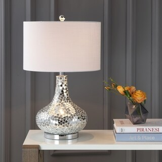 """Emilia 26"""" Mirrored Mosaic LED Table Lamp, Silver by JONATHAN Y"""