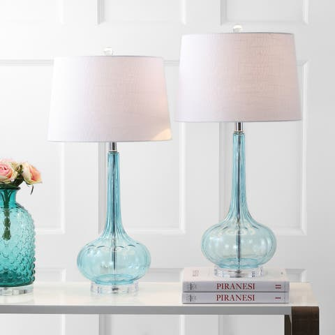 "Bette 28.5"" Glass Teardrop LED Table Lamp, Aqua (Set of 2) by JONATHAN Y"