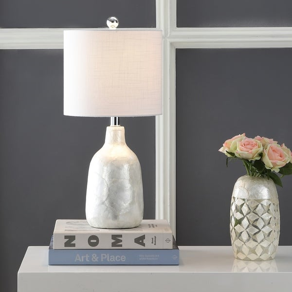 "Lucille 21"" Seashell LED Table Lamp, Pearl"