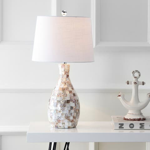 "Verna 26.5"" Seashell LED Table Lamp, Ivory/Beige by JONATHAN Y"