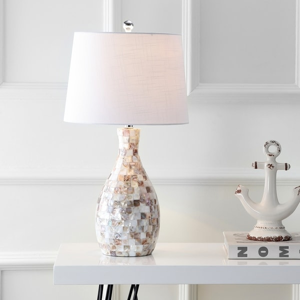 """Verna 26.5"""" Seashell LED Table Lamp, Ivory/Beige by JONATHAN Y. Opens flyout."""