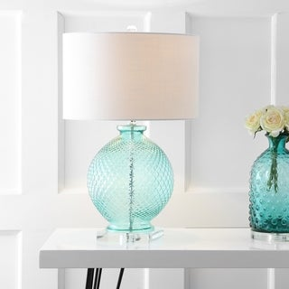 """Estelle 26"""" Glass and Crystal Table Lamp, Aqua by JONATHAN Y"""