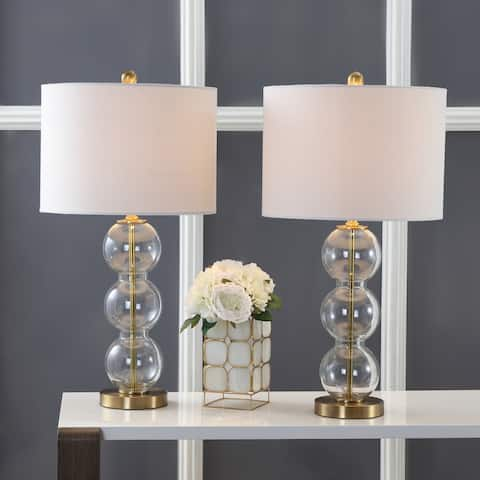 "Bella 27"" Glass Triple-Sphere LED Table Lamp, Clear/Brass (Set of 2) by JONATHAN Y"