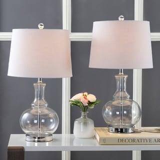 """Lavelle 25"""" Glass LED Table Lamp, Clear/Chrome (Set of 2) by JONATHAN  Y"""