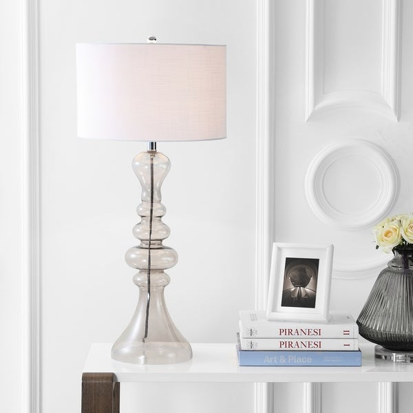 """Madeline 35"""" Curved Glass LED Table Lamp, Smoke Gray"""