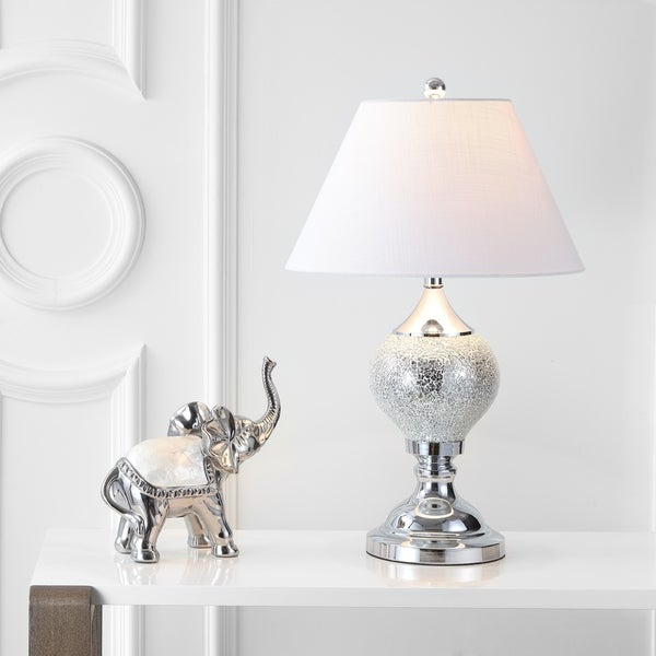 "Louise 27"" Mirrored LED Table Lamp, Silver/Chrome"