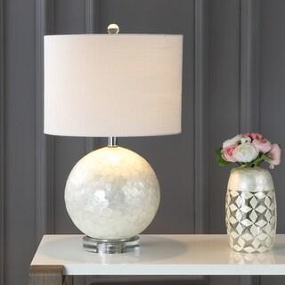 "Zuri 23.5"" Capiz Seashell Sphere LED Table Lamp, Pearl/White"