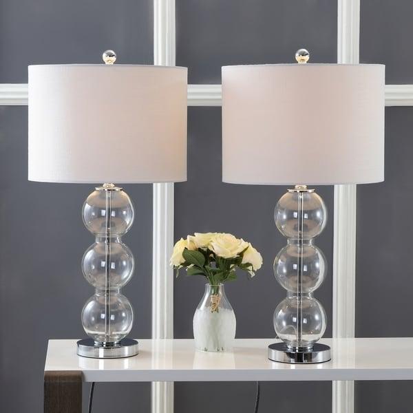 Bella 27 Gl Triple Sphere Led Table Lamp Clear Chrome Set