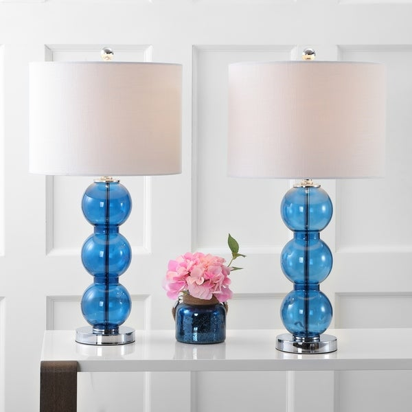 "Bella 27"" Glass Triple-Sphere LED Table Lamp, Cobalt Blue/Chrome (Set of 2) by JONATHAN Y"