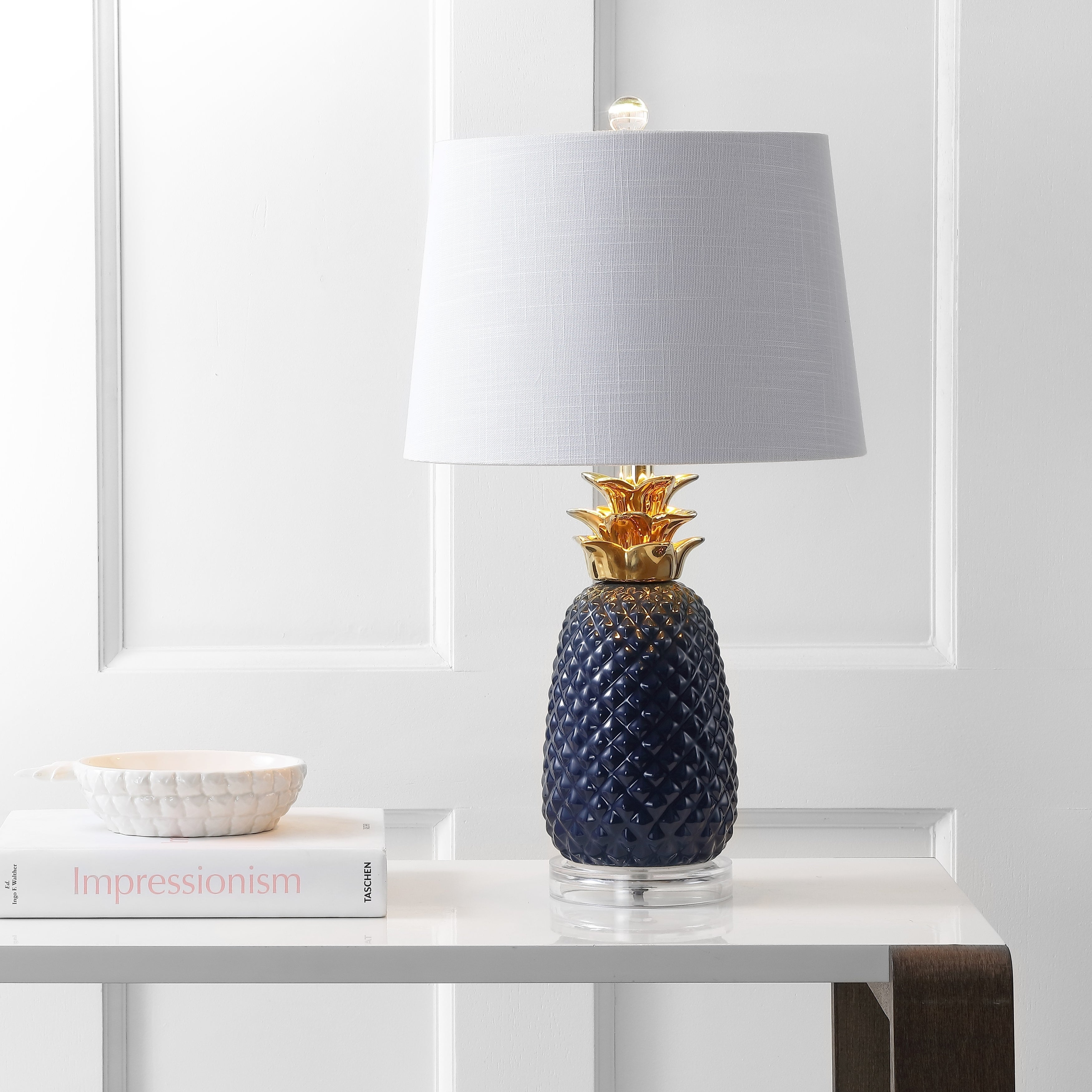 """Pineapple 23"""" Ceramic LED Table Lamp, Navy/Gold by ..."""