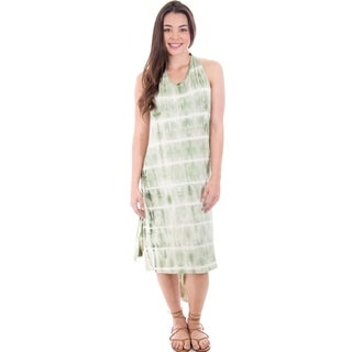 Tie Dye Halter Backless Beach Dress Cover Up Wrap Long (More options available)