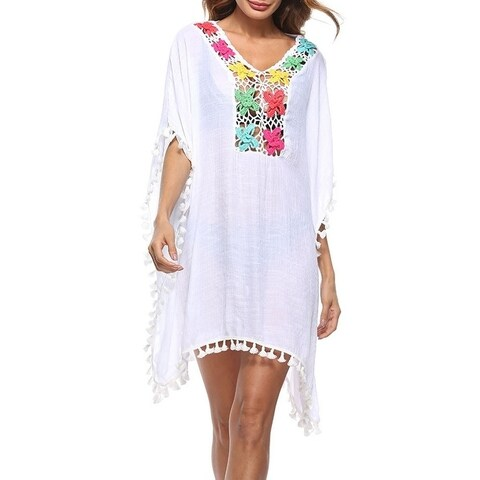 Women's Pompom Tassel Trim Bikini Swimsuit Beach Cover Up
