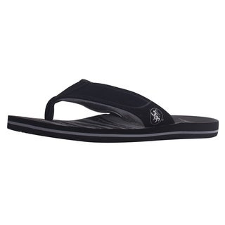 Men's Athletic Strap Poolside Casual Beach Flip Flop Sandals, Black/Grey, 9 (4 options available)