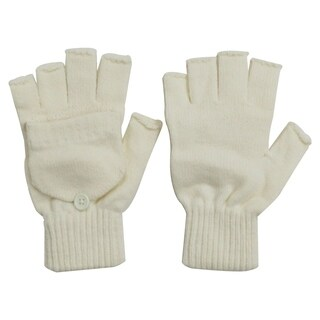 Winter Fingerless Gloves with Flap Cover Mitten Gloves, 56-Vanilla