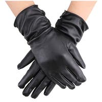 Women Faux Leather Winter Warm Thermal Lining Gloves, Black