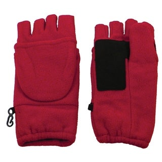 Winter Fingerless Gloves with Flap Cover Mitten Gloves, 194-Red