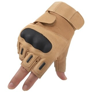 Men Women's Cycling Motorcycle Gloves Mittens, Half Finger Khaki XL