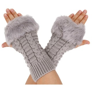 Winter Warmer Faux Knitted Hand Wrist Fingerless Gloves, Light Grey2