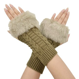 Winter Warmer Faux Knitted Hand Wrist Fingerless Gloves, Light Grey2