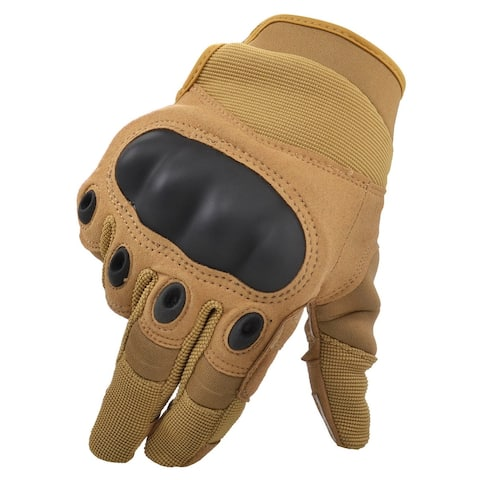Men Women's Cycling Motorcycle Gloves Mittens, Show Finger Khaki L