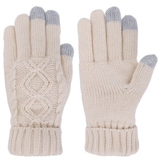 Women's Three Fingers Knit Touchscreen Gloves, Medium-Vanilla