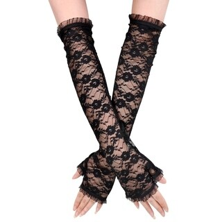 Pair Wedding Feminine Fingerless Arm Warmer Elbow Length Lace Gloves - Black