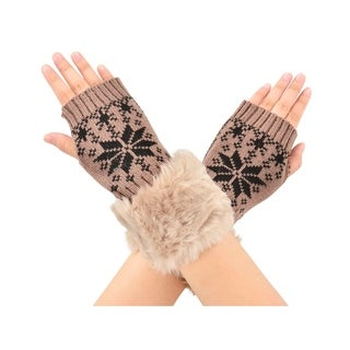 Snowflake Winter Warmer Women Faux Knitted Hand Wrist Fingerless Gloves, Khaki2
