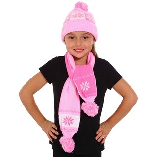 Girls Woven Knit Crochet Cable Warm Winter Snowflakes Hat and Scarf Set,Pink