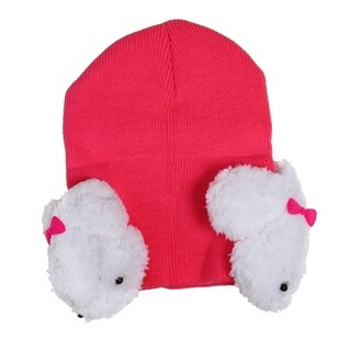 Baby or Toddler Size Warm Beanie Cap with Rabbit Ear Flaps,6mth-2yrs