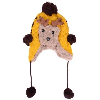 Yellow Wool Cap for Kid's, Earflaps & Pom Poms w/ Cute Sheep Design (Option: Yellow - One Size Fits Most)
