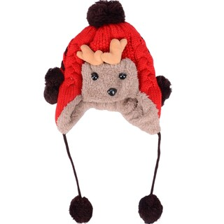 Yellow Wool Cap for Kid's, Earflaps & Pom Poms w/ Cute Sheep Design (Option: Red - One Size Fits Most)