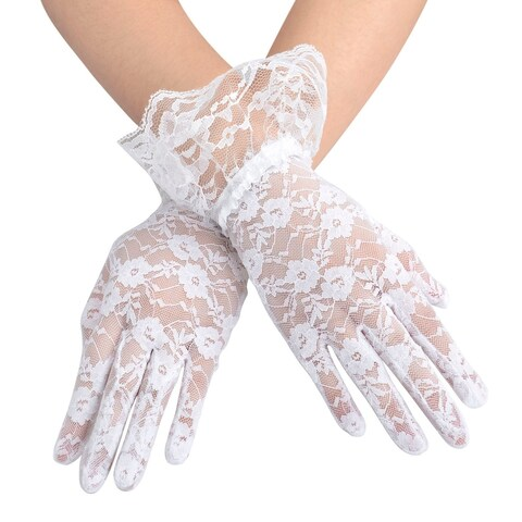 Women's Party Sexy Short Lace Wedding Dress Gloves,White