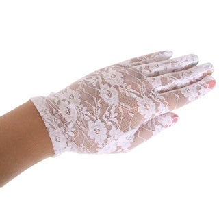 Women's Party Sexy Lace Wedding Dress Short Gloves,White