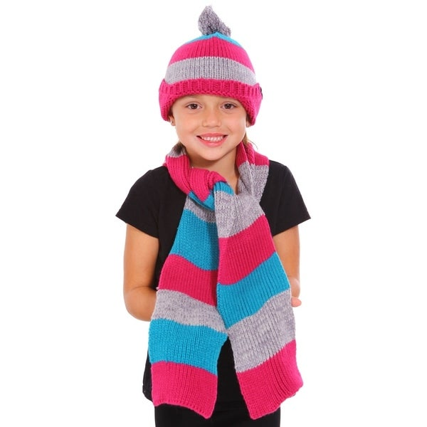 Girls Winter Knitted Woolen Striped Pattern Hat & Scarf Set with Earflaps,Rose