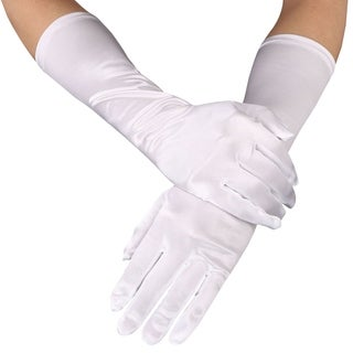 "Women's 15"" Long Opera Length Satin Party Bridal Dance Dress Gloves,White"