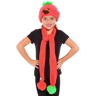 Child Kids Knit Beanie Hat Cap and scarf set, Watermelon Red
