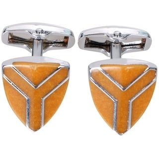 Men's Classic Ornate Wedding Shirt Cufflinks, Triangle Orange