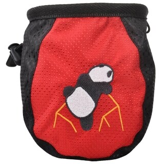 New Rock Climbing Panda Design Chalk Bag Adjustable Belt, 337_Red