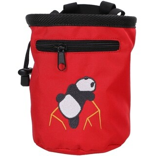 "Rock Climbing Panda Embroidered Chalk Bag w/ Zip Pocket, Red, 7""H x 5""D"