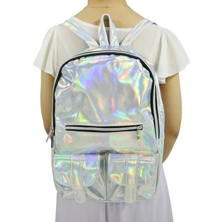 Funky Holographic Backpack w/ Front Pockets and Adjustable Straps