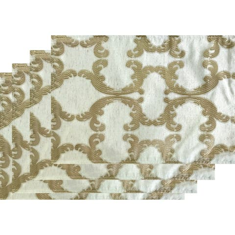 Dainty Home Scroll Linen-Blend Reversible Printed Fabric Set of 4 Placemats
