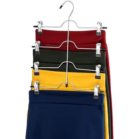 4 Tier Trouser Skirt Hanger (3 Pack) Chrome with Non-Slip Vinyl Clips