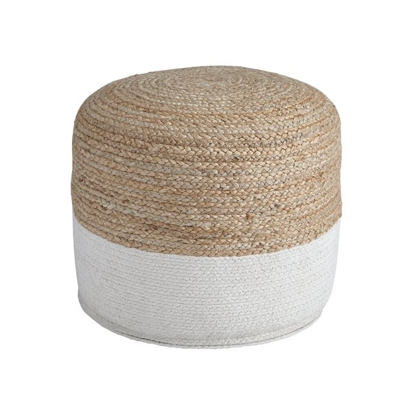 Sweed Valley Natural/White Pouf. Opens flyout.