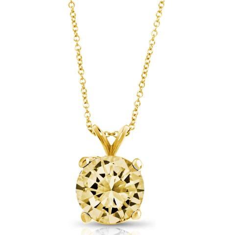 Pori Jewelers 14k Solid Gold 1.0cttw Round-cut Gemstone Pendant