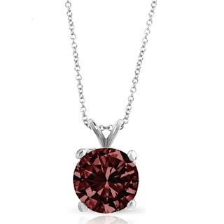 Pori Jewelers 14k Solid White Gold 1 0cttw Round Cut Gemstone Pendant Necklace