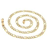 Pori Jewelers 14k Solid Gold Pave Diamond-cut Figaro Chain Necklace