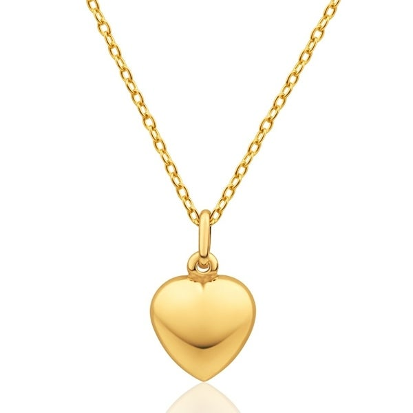 New 3D Small Polished Puffed Heart Pendant Charm Real 14K Yellow Gold